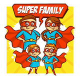 Super Family. Father Mother Daughter Son Superheroes. Set. Clipart royalty free illustration