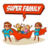 Super Family. Father Mother Daughter Son Superheroes. Set Stock Photo