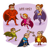 Super Family Superheroes Kids Vector Illustration  Stock Images
