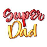 Super family text - Super dad color calligraphy vector illustration