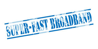 Super fast broadband blue stamp. Isolated on white background Stock Image