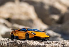 Super fast car in the mountains. stock photo