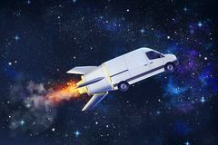 Super fast delivery of package service with flying van like a rocket stock photo