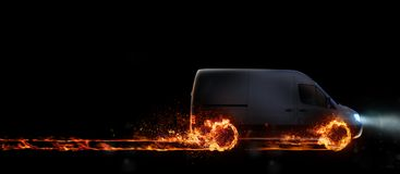 Super fast delivery of package service with van with wheels on fire. 3D Rendering Stock Images
