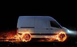 Super fast delivery of package service with van with wheels on fire. Super fast delivery of package service . van with wheels on fire on the road stock illustration