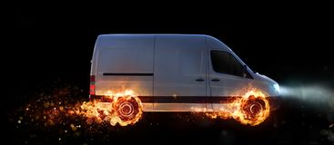Super fast delivery of package service with van with wheels on fire royalty free stock images