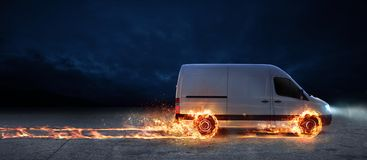 Super fast delivery of package service with van with wheels on fire. Super fast delivery of package service . van with wheels on fire on the road Stock Image