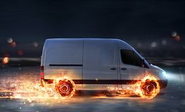 Super fast delivery of package service with van with wheels on fire. Super fast delivery of package service . van with wheels on fire on the road Royalty Free Stock Photos