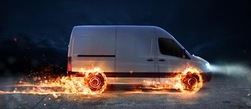 Super fast delivery of package service with van with wheels on fire. Super fast delivery of package service . van with wheels on fire on the road royalty free illustration