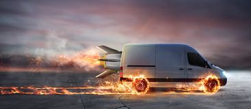 Super fast delivery of package service with van with wheels on fire. Super fast delivery of package service . van with wheels on fire on the road Royalty Free Stock Photography