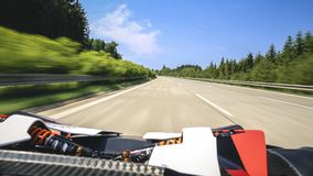 Super fast ride in convertible sportscar. Royalty Free Stock Photography