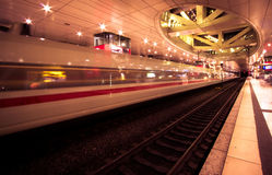 Super fast train. This photograph represent a front view of a Intercity Express (ICE) train in Frankfurt-Airport Station, Germany Stock Photography