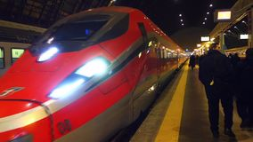 Super Fast Train arrives at railway station stock footage