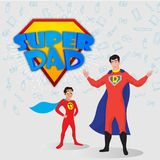 Super father and son duo with text Super Dad. Happy Father`s Day. Celebration concept vector illustration