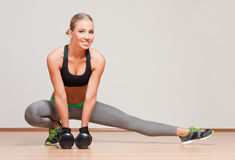 Super fit blond woman. Stock Photo