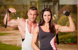Super fit couple. Royalty Free Stock Photo