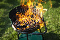 Super flames on the grill Royalty Free Stock Photography