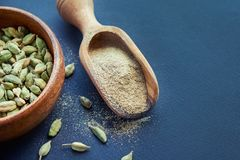 Super food cardamom health food selection in spoon stock image