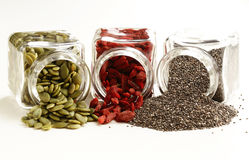 Super food - goji berries, chia seeds Royalty Free Stock Images