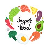 Super food - hand drawn lettering. Round frame of natural vegetables, nuts and foods. Keto nutrition. Ketogenic diet vector illustration