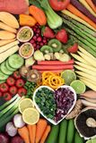 Super Food for a Healthy Diet. Concept with fresh vegetables and fruit with foods high in anthocyanins, antioxidants, dietary fibre, vitamins and minerals. Top Stock Image