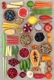 Super Food for Healthy Living. Super food concept for healthy eating with fruit, vegetables and spice with foods high in antioxidants, anthocyanins, dietary royalty free stock photo