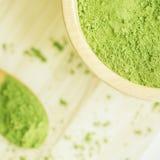 Super food Moringa green powder Stock Photos