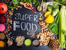 Super food selection. Various super foods and healthy foods, Detox, Fiber rich food stock photos