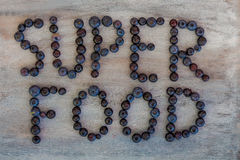 Super Food Text. Written with Blueberries Royalty Free Stock Images