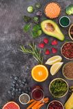 Super Foods clean eating and dieting concept. Super foods featuring seeds and organic garden produce. Clean eating and dieting concept. Top view, blank space stock photos