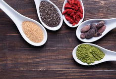 Super foods in the spoons Royalty Free Stock Photo