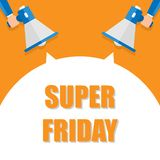 Super friday announcement, hand holding megaphone and specch bubble announcing big sale, vector eps10 illustration. Super fridayannouncement, hand holding royalty free illustration