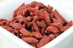 Super-fruits - Dried goji berries. Super-fruits - Goji, goji berry or wolf-berry - Nutrient value and antioxidant content Stock Image