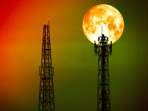 Super full blood moon back shadow light on top signal pillar Stock Photos