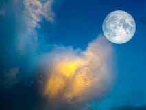 super full moon gold cloud in the blue sky Stock Images