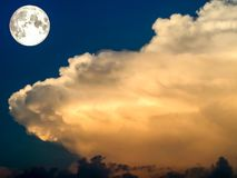 Super full moon and hot tone cloud Royalty Free Stock Photo
