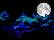 Super full moon on the night sky Royalty Free Stock Image