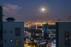 Super full moon over Bangkok, Thailand royalty free stock images