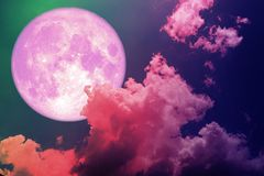Free Super Full Pink Moon Back Silhouette Colorful Magenta Sky Royalty Free Stock Photography - 121768147