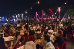 Super fullmoon Loi-Krathong festival. Chiang Mai, Thailand - November 14, 2016 : Super fullmoon Loi-Krathong festival, Unidentified tourists have come to reserve Stock Image