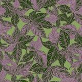 Super Gedetailleerd Blad Naadloos Patroon in Groen en Purper stock illustratie