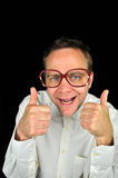 Super Geek gives thumbs up Stock Image