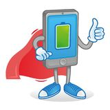 Super gero smatphone. Digital Icon new smartphone tablet show thumb up. Phone superhero in red cloak with full percentage of charge accumulator battery energy Royalty Free Stock Image