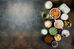 Super gesunde Probiotic gegorene Nahrungsquellen lizenzfreie stockfotografie