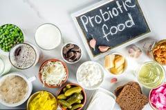 Super gesunde Probiotic gegorene Nahrungsquellen stockbilder