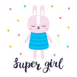 Super girl. Cute little bunny. Romantic card, greeting card or postcard. Illustration with beautiful fashion rabbit. Vector illustration Royalty Free Stock Images