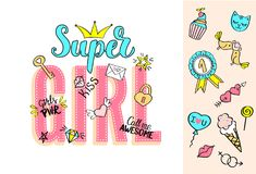 Super Girl lettering with girly doodles and hand drawn phrases for valentines day card design, girl`s t-shirt print. Hand drawn fancy comic feminism slogan in royalty free illustration