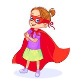 Super girl playful. Cool playful Super girl stands in a confident beckoning pose, pointing to herself. Full-length vector little girl in Super hero costume with Stock Image