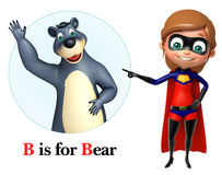 Super girl pointing Bear Royalty Free Stock Image