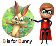 Super girl pointing Bunny Royalty Free Stock Photo